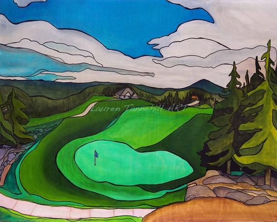 Canvas Print Golf Course, Contemporary Style with Pine Trees by Lauren Tannehill ART