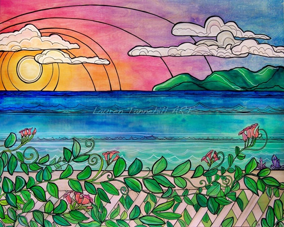8x10 Giclee Print of Laguna Beach View of Sunset and Catalina by Lauren Tannehill ART