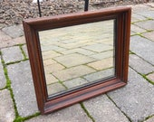 Antique American Shadow Box Mirror with Red Brown Stain and Original Glass