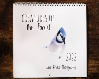 """2022 June Krisko Photography, Creatures of the Forest, colour Canadian wall calendar 10"""" x 10"""" with spiral/coil binding and top-centre hole"""