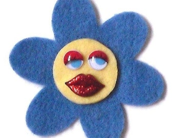 Blue Angelina (Funky Felt Flowers Cocktail Ring)