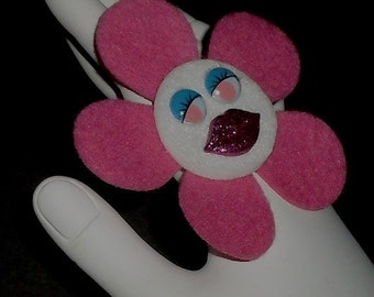 Hot Pink Angelina  (Funky Felt Flowers Cocktail Ring)