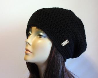 Slouchy Beanie Black Hat - Crochet Slouch Beanie Womens Chunky Black Beanie  Hipster Hat - Black Slouchy Beanie - Fall Apparel - Vegan Hat 30e67e4da2e0