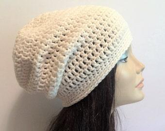 904c0cb0533 Slouchy Beanie White Hat - Crochet Slouch White Beanie Womens Beanie  Hipster Hat - Slouchy Beanie - Fall Apparel - Vegan Hat