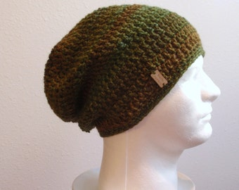 8bc50f27851 Crochet Slouch Hat Brown Beanie