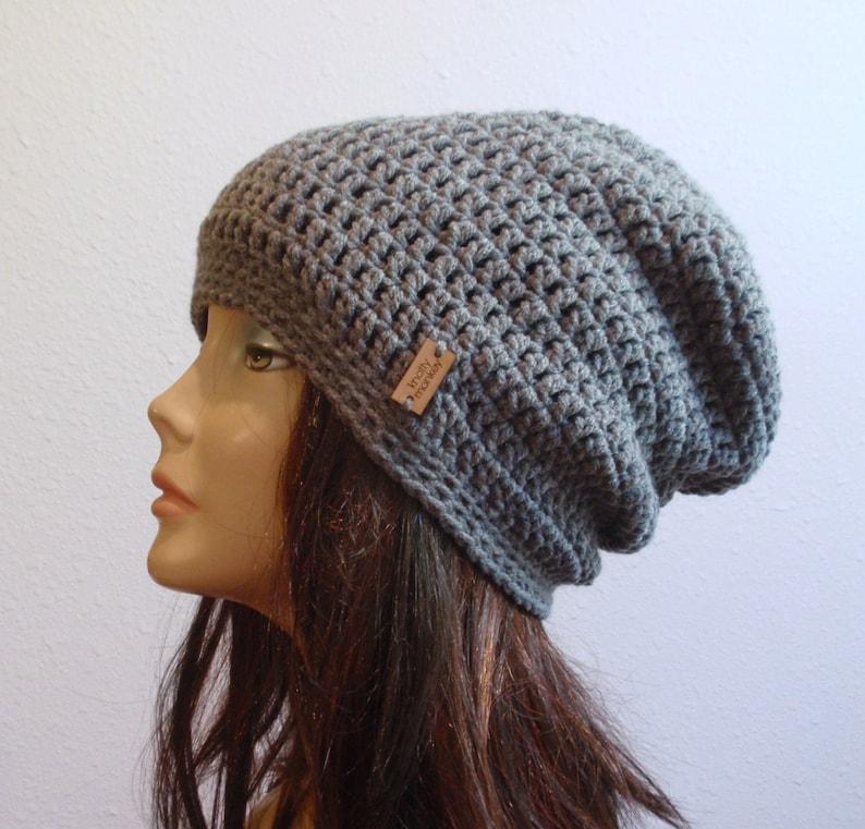Slouchy Beanie Gray Hat  Crochet Slouch Beanie Womens Grey image 0