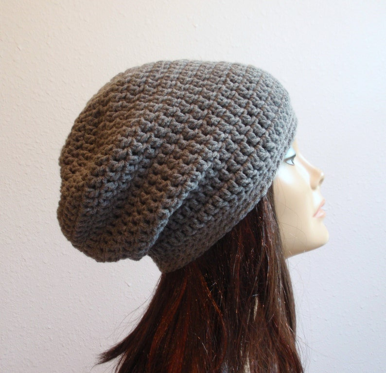 ba3d2544344 Slouchy Beanie Gray Hat Crochet Slouch Beanie Womens Grey
