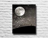 Night sky. Full moon. Sil...