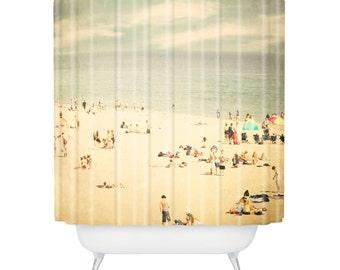 Shower Curtain Bathroom Art Beach Home Decor Photography Santa Cruz California Blue And Beige Sky Sand Ocean