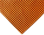 Orange and Black Plaid Dog bandana - Halloween or Fall - over the collar scarf