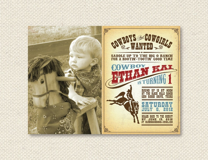 Custom Birthday Party Invitation by Mulberry Paperie  Cowboy image 0