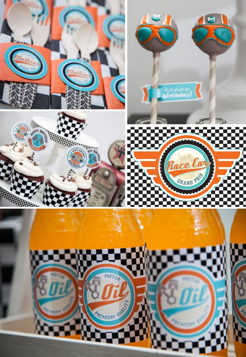 DIY printable birthday party package  race car image 0