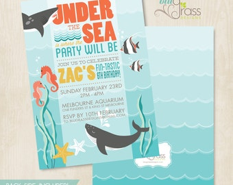 Custom Birthday Party Invitation by Mulberry Paperie - Under the Sea