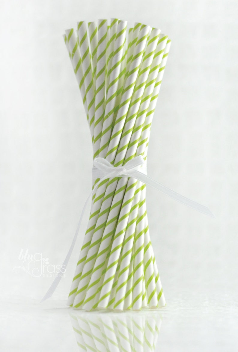 Thin Striped Paper Straws  Lime Green image 0