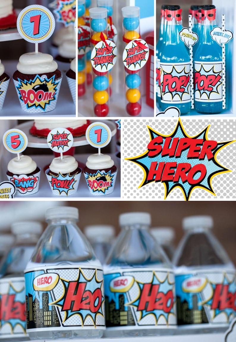 DIY printable birthday party package  Superheroes image 0