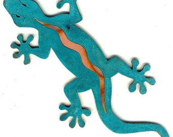 """CopperCutts Gecko 10.5"""" x 5"""" Wall Plaque Rustic Copper and Wood"""