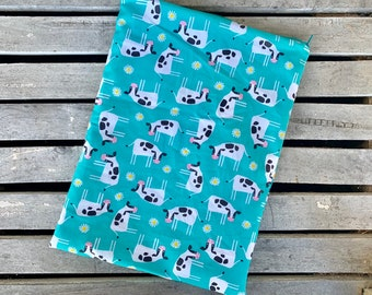 Travel wet bag Teal Cows-optional strap available