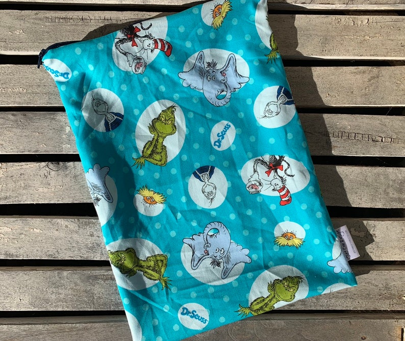 Travel Wet Bag- -Dr Seuss Characters- Optional Strap Available- Bikini Bag Baby Gift Menstrual Care Bag Cloth Diape