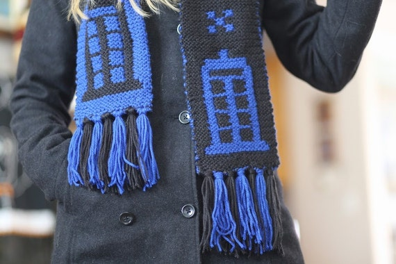 Doctor Who Tardis Scarf Hand Knit Black And Blue Etsy