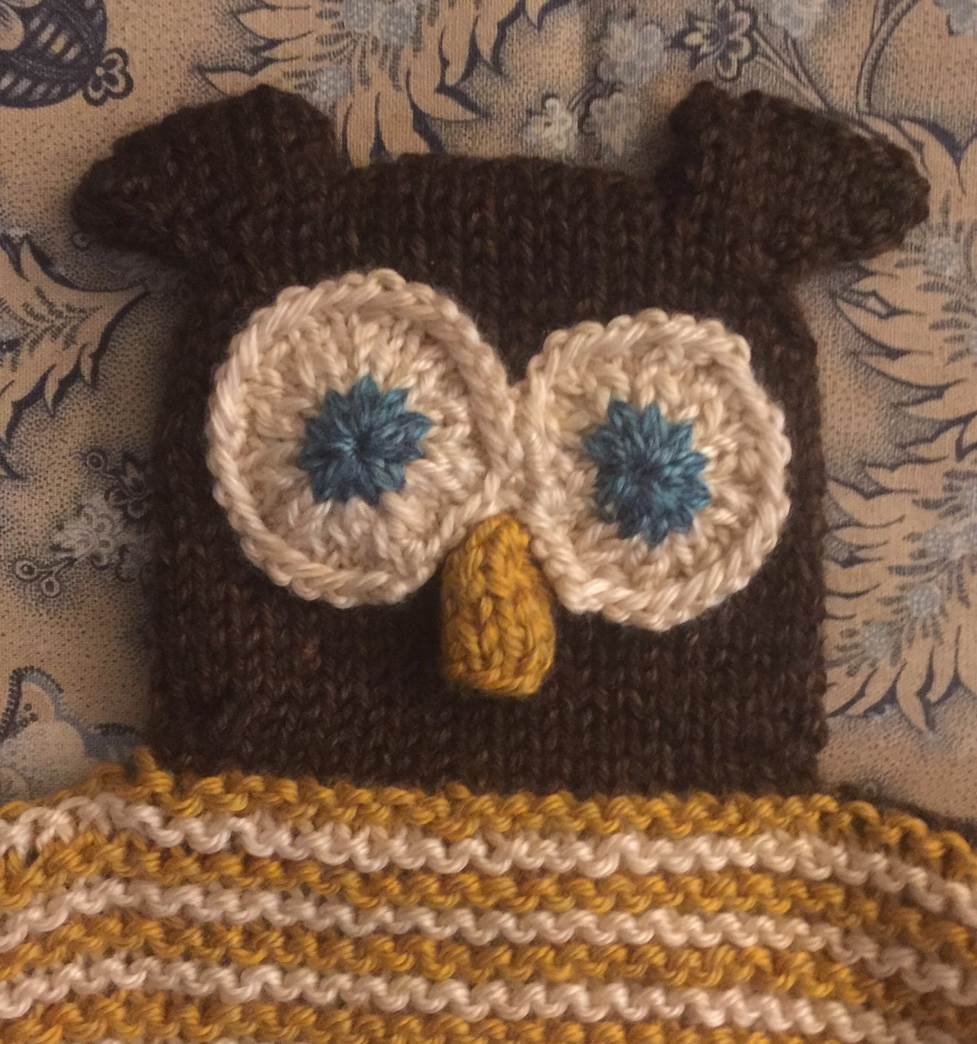 Oakley The Owl Lovey Security Blanket Brown Gold And
