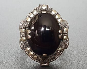 Art Deco Onyx Ring Sterling Silver & Marcasite Size 6