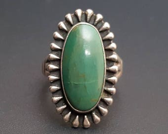 """Turquoise Sterling Ring Bell Trading Post Size 7.25 1 1/16"""" Long"""