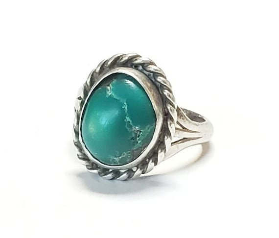 Womens Turquoise Ring Vintage Navajo Sterling Green Turquoise Ring Size 5.5