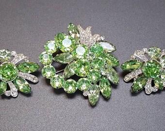 Eisenberg Rhinestone Brooch & Earrings Demi Parure