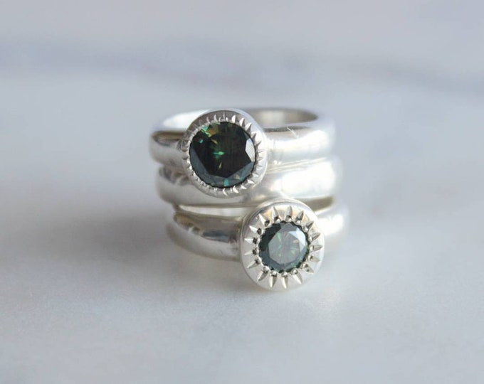 Featured listing image: Blue Green Moissanite Ring