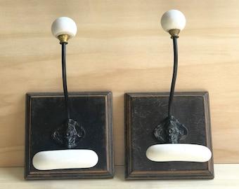 French Vintage Porcelain Coat Hooks, Hat Racks, Set of 2 Coat Racks with Porcelain Pegs, Shabby Chic Storage, French Brocante   5836