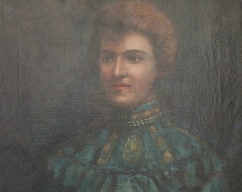 Antique French Oil Portrait Painting of a Woman Signed by Artist E F Forrester 1906