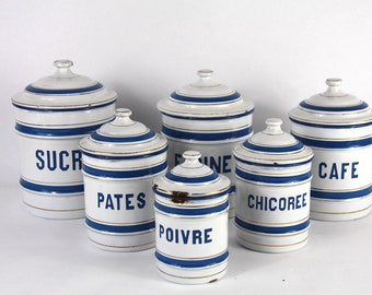 French Enamel Canisters, Set of 6 Nesting Canisters.  White and Blue Enamel  Storage Set.