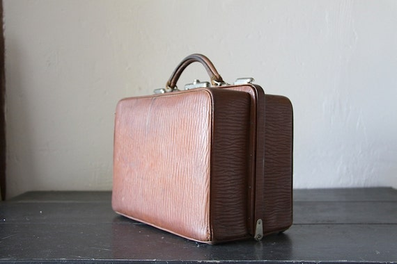 French Antique Leather Bag  1930s