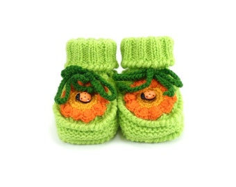Hand Knitted Baby Booties with Crochet Flower - Light Green, 6 - 12 months