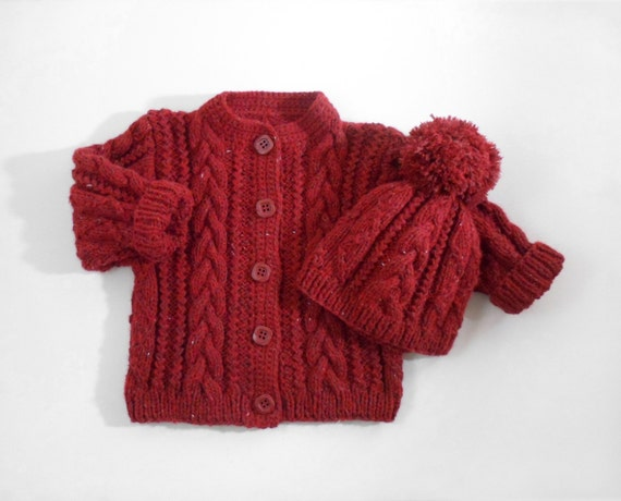 7b095521b Hand Knitted Baby Cardigan Coat and Hat Hand Knit Baby Sweater