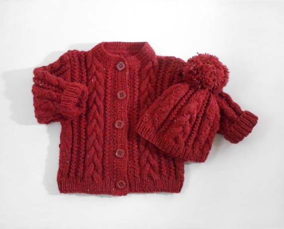c0448a810e4e Hand Knitted Baby Cardigan Coat and Hat Hand Knit Baby Sweater