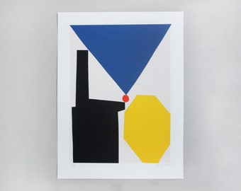 Screenprint handmade original blue - yellow - red  / À gauche