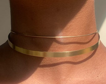 Minimal Choker Set * Very Thin Metal Collar & Wire Choker * 2-Piece Combo *