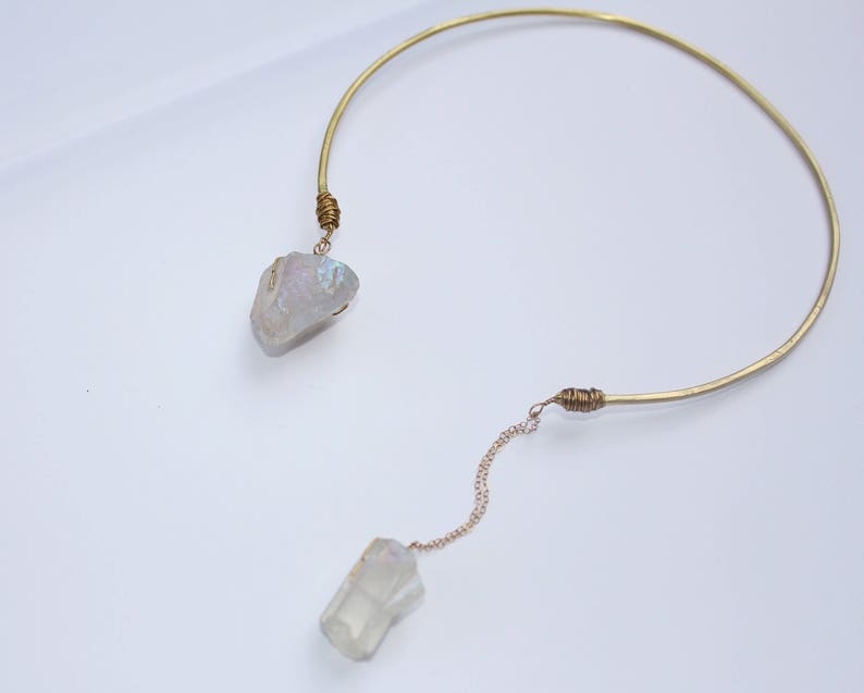 Crystal Necklace Open Collar Statement Piece Angel Aura Quartz Choker Brass w 14K Gold Chain