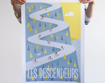 Large Cycling Print, DESCENDERS, Tour de France