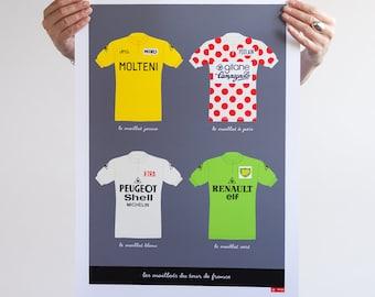 Tour de France Art, Vintage Cycling Jerseys, Art Print