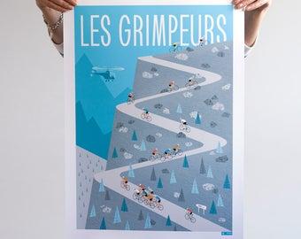 Cycling Poster, The Climbers, Tour de France Art