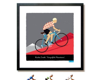 PERSONALISED King of the Mountains Cycling Art Print: Customisable Name, Race Number, Hair, Eye and Bike Colour