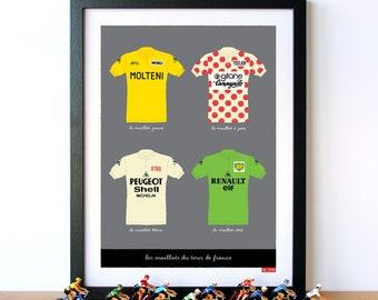 Tour de France Art, Classic Cycling Jerseys Art Print