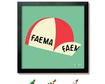 Cycling Cap Poster Print, Tour de France Art, Vintage Red Faema Cycling Cap