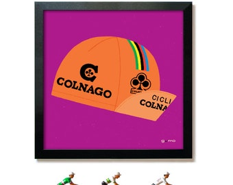 Bike Art, Cycling Print, Colnago Cycling Cap