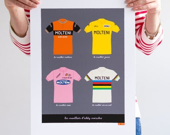 Eddy Merckx, Classic Cycling Jerseys, Art Print