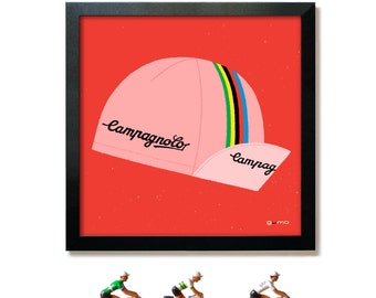 Cycle Art, Campagnolo Vintage Cycling Cap Print