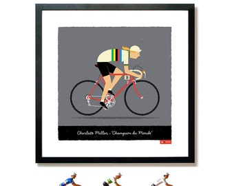 PERSONALISED Female Cycling Art Print, Customised Name, Race Number, Hair, Hairstyle, Eye and Bike Colour, Cycle Gifts