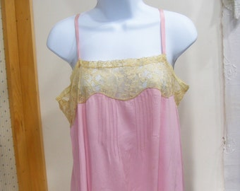 5c596a9a1be 10 Teens Step In Chemise Vintage Lingerie Pink Silk Pongee Full Slip  Handmade Needle Lace Med